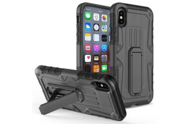 Zizo Heavy Duty Armor Case - Pancerne etui iPhone X z podstawką + uchwyt do paska (Black/Black)