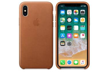 Apple Leather Case - Skórzane etui iPhone X (naturalny brąz)