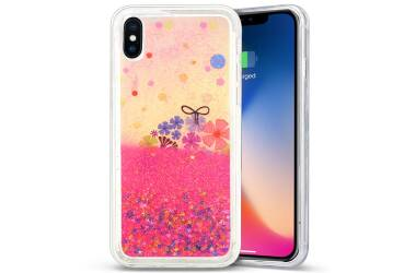 Zizo Liquid Glitter Star Case - Etui iPhone X (Spring Flowers)