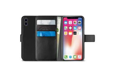 PURO Booklet Wallet Case - Etui iPhone Xs Max z kieszeniami na karty + stand up (czarny)