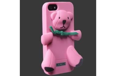 Etui do iPhone SE/5/5S Moschino bear silicon - różowe