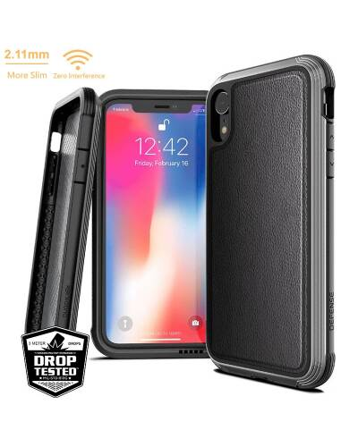 X-Doria Defense Lux - Etui aluminiowe iPhone XR (Drop test 3m) (Black Leather) - zdjęcie 1