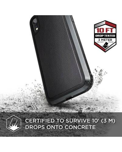 X-Doria Defense Lux - Etui aluminiowe iPhone XR (Drop test 3m) (Black Leather) - zdjęcie 2