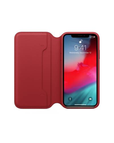 Etui do iPhone Xs Max Apple Leather Folio - czerwone - zdjęcie 3