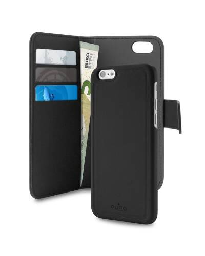 Etui do iPhone 7 Plus PURO Wallet Detachable -  2w1 Czarne - zdjęcie 2