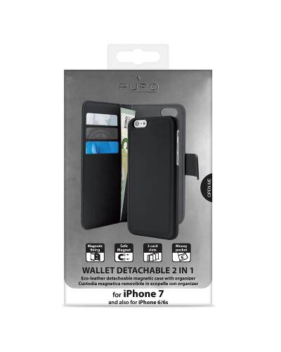 Etui do iPhone 7 Plus PURO Wallet Detachable -  2w1 Czarne - zdjęcie 3
