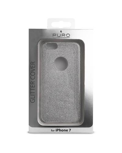 Etui do iPhone 7 PURO Glitter Shine Cover Srebrne - zdjęcie 2